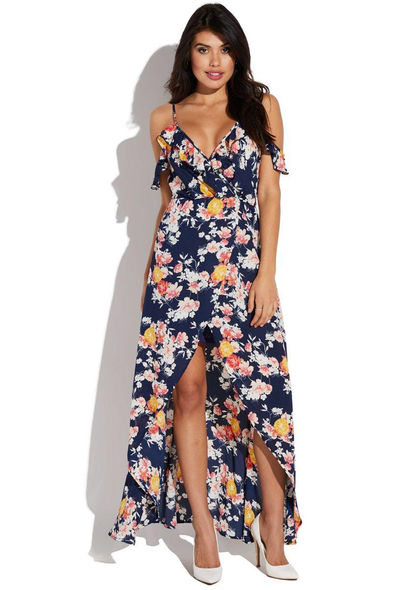 b7854050d7 Cold shoulder floral maxi   my style <3   Floral maxi dress, Dresses ...