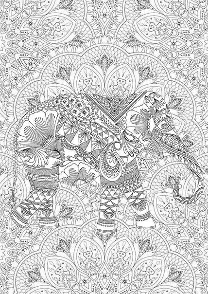 adult coloring pages elephant 3 - Coloring Page Elephant Design