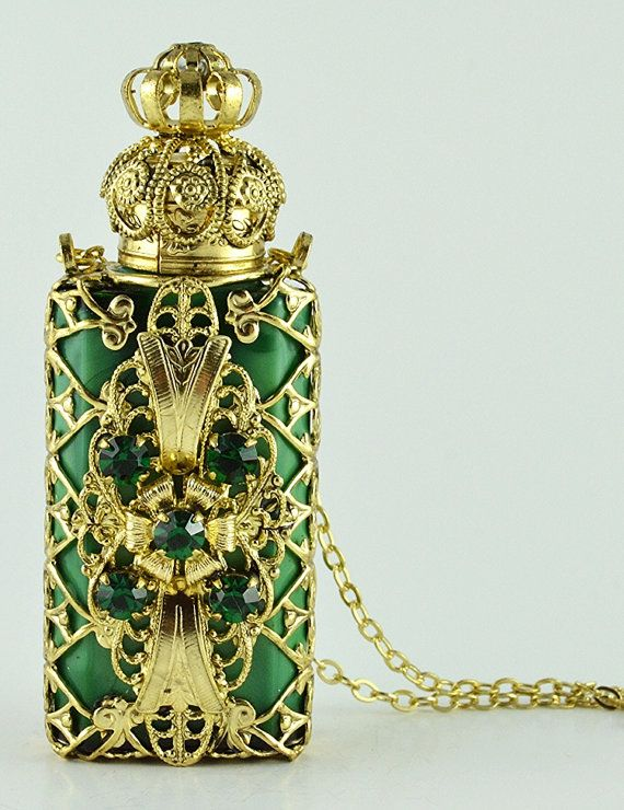 Vintage Malachite Glass Perfume Bottle Gold Tone by chicandcharm, $31.00