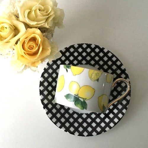 レモン×ギンガムチェックのカップ&ソーサー♡
