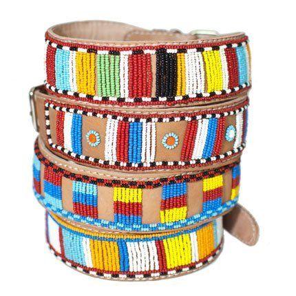 Handmade Beaded Leather Dog Collar - Fair Trade ($55)
