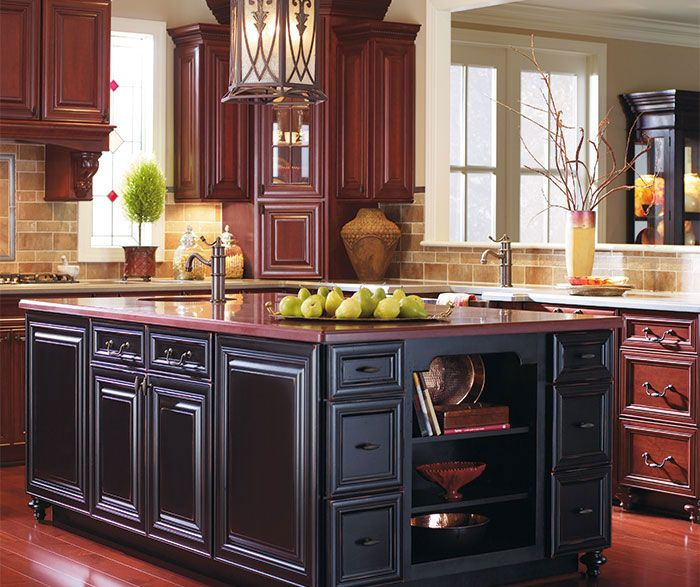 Burgundy Kitchen Cabinets With A Black Island Dynasty
