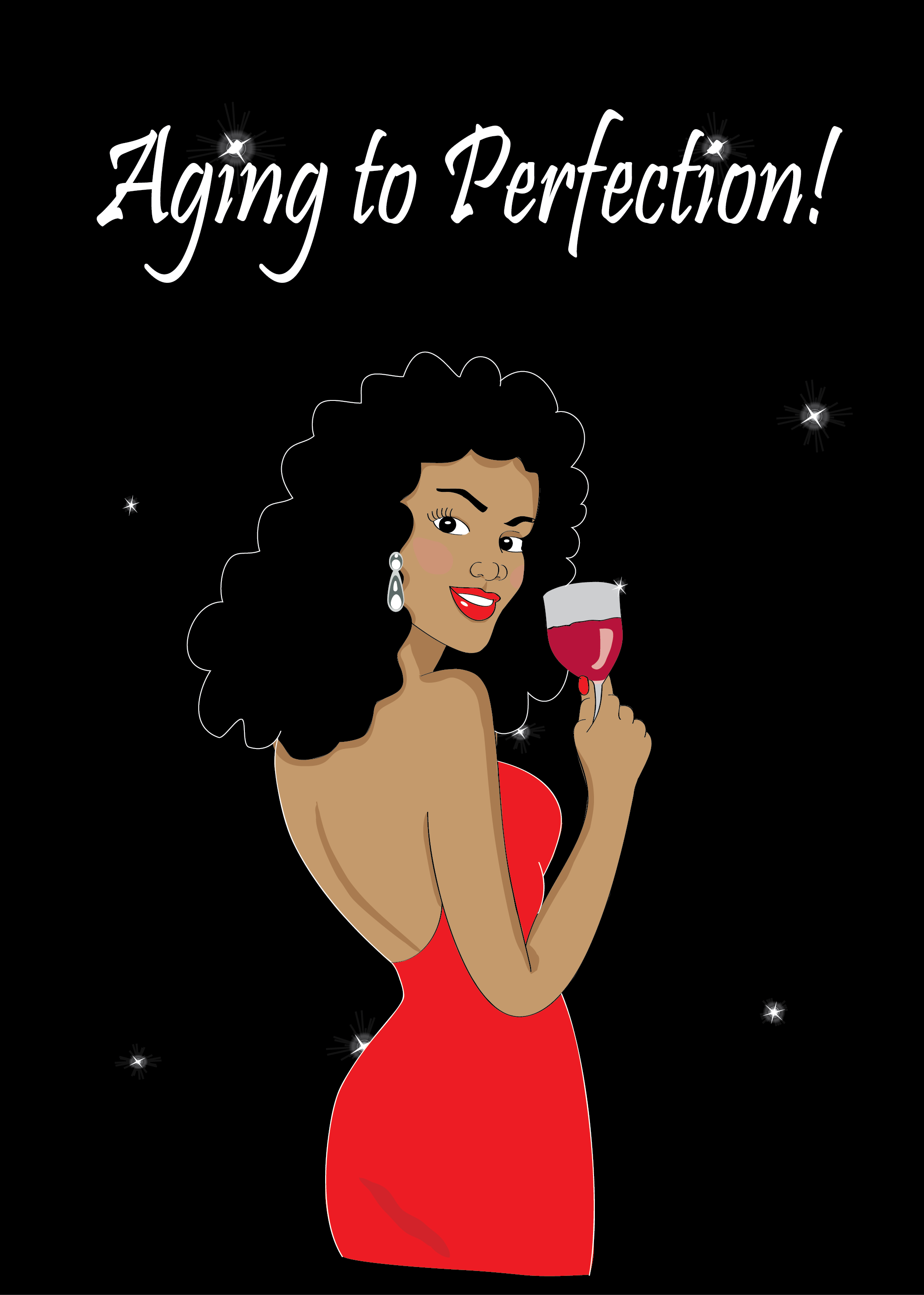 Beautiful Black African American Woman With Natural Hair Wearing A Red Dress Pearl Earings And Enjoying Glass Of Wine Women Birthday Card For