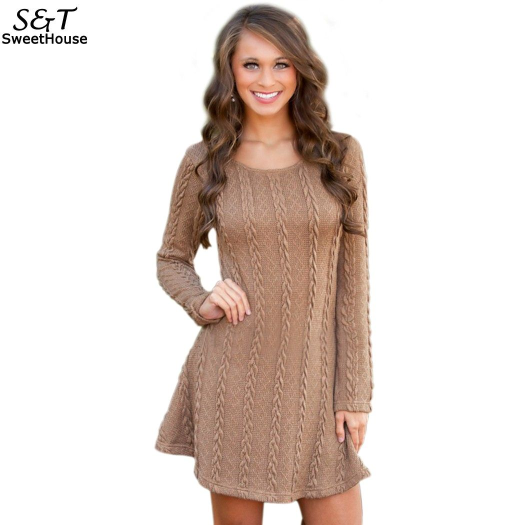 Fanala Women Dress 2017 Autumn Dresse Warm Solid Knitting Casual