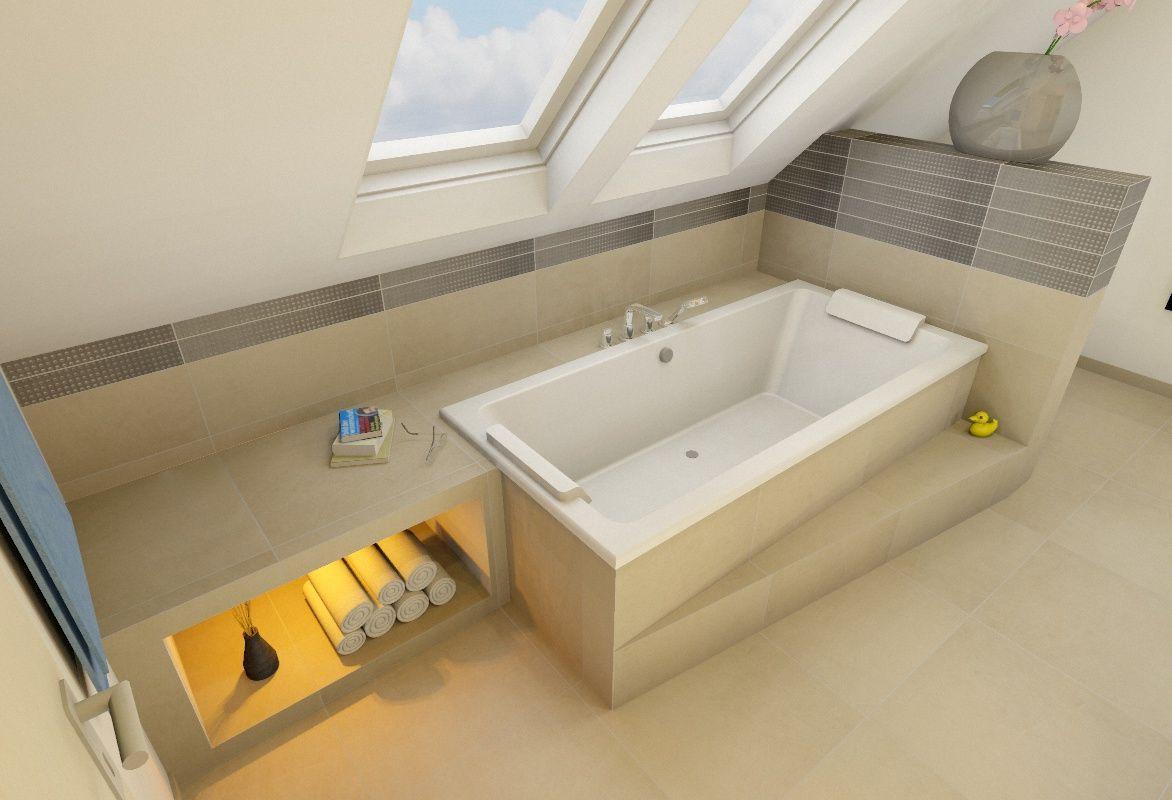 SchlafzimmerSchrank unter der Schru00e4ge einer Gaube   Yellow bathrooms, Bathtub, House bathroom