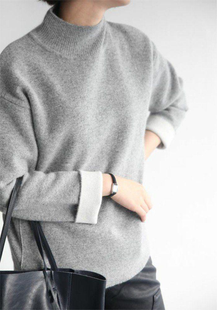 41a502e044df0a pull gris sac a main noir en cuir comment s habiller selon les dernieres  tendances de la mode