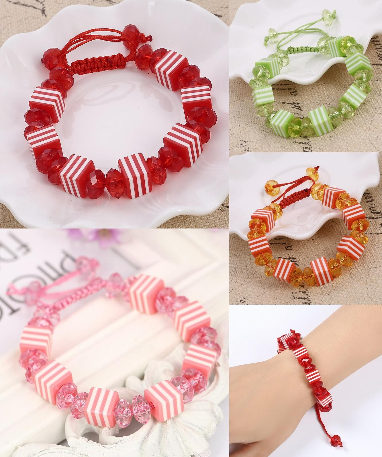 Visit to Buy] 2017 Candy Color Crystal Beads Bracelet Charms Cute ...