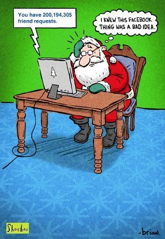 Santa On Facebook Pic Funny Merry Christmas Memes Funny Christmas Cartoons Funny Christmas Jokes