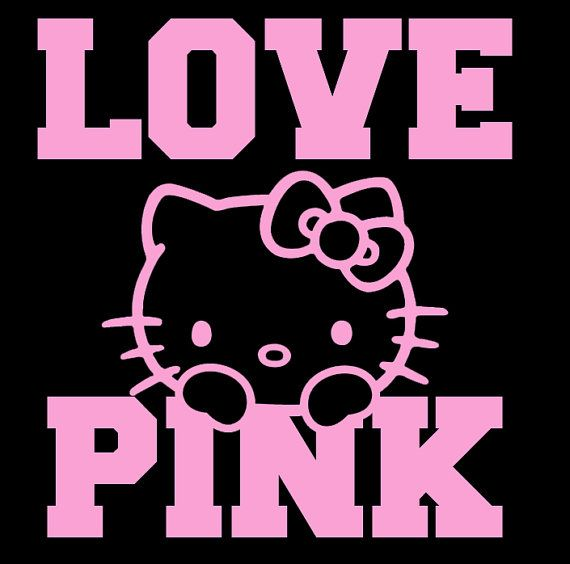Hello Kitty Love Pink Decal Vinyl Decal For Cars By RIVinyl - Hello kitty custom vinyl decals for car