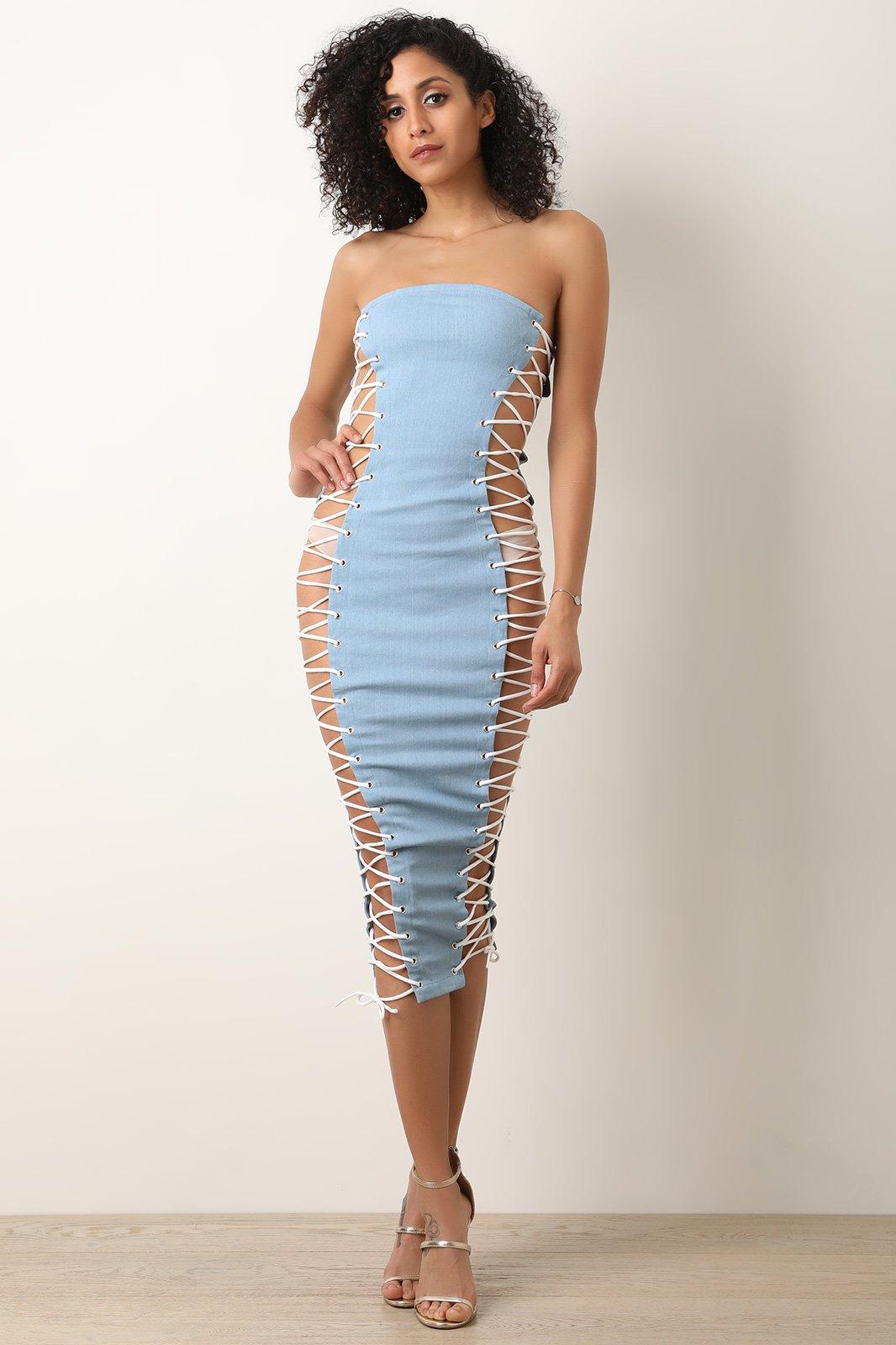 Denim Side Corset Open Lace-Up Tube Dress  tubedress  craaveme  craave   cute  beautiful