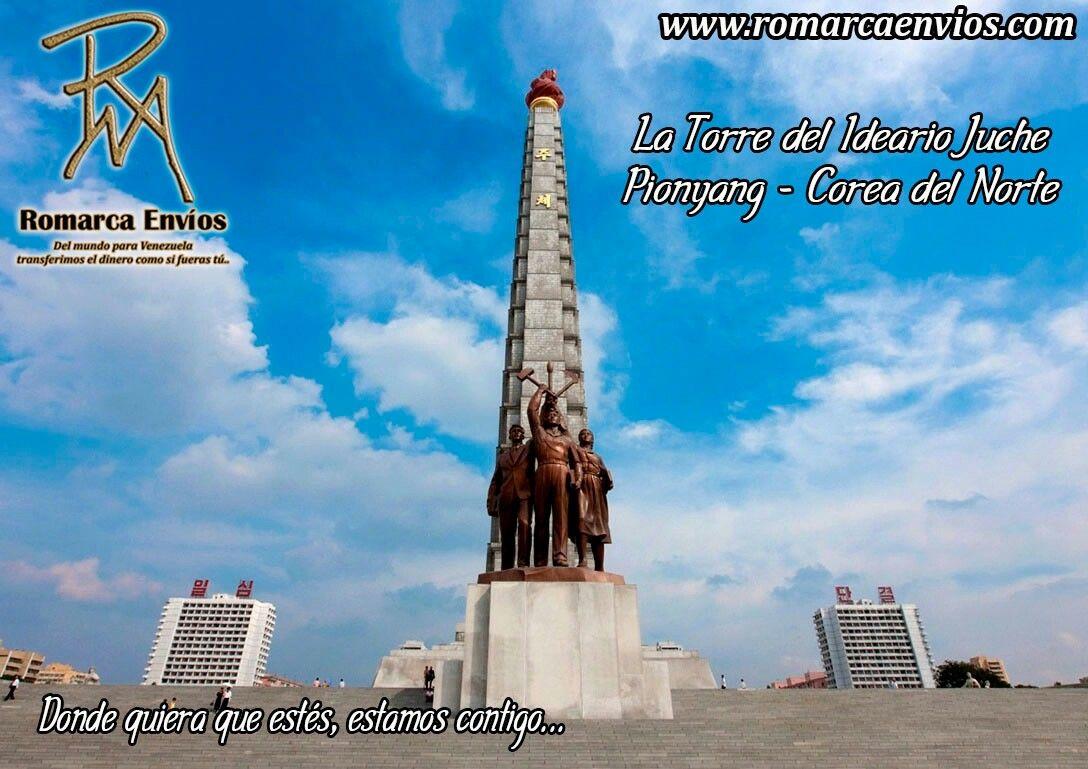 La Torre del Ideario Juche, es un monumento situado enPionyang, la capital de#CoreaDelNorte. La estructura tiene una altura de 170 metros con forma deobeliscode cuatro lados que se van estrechando según se asciende. La torre está compuesta por 25.550 bloques. Se erigió para conmemorar el 70º cumpleaños deKim Il Sung. #RomarcaEnvios #VenezolanosEnElMundo