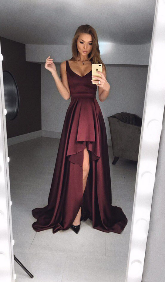 Simple Prom Dresses,burgundy Evening Gowns,fashion Prom Dresses #promdresses