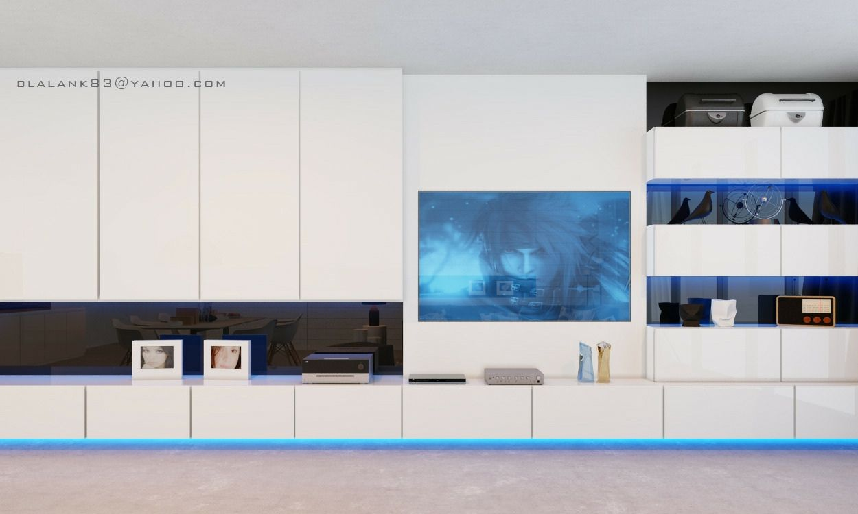 Spacious Modern Living Trends Modern Living Floating Staircase - White gloss wall units living room