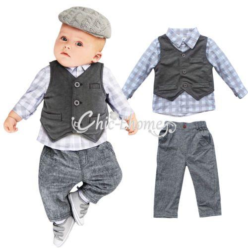 Jungen Kinder Baby Weste Shirt TOP Hose Smoking Taufe Anzug 3TLG ...