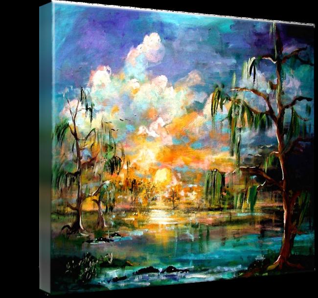 Sunset Wetland Summer Clouds Landscape By Ginette Callaway Landscape Art Prints Original Paintings Art