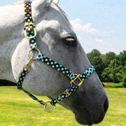 Brown and Blue Polka Dot Horse Halter