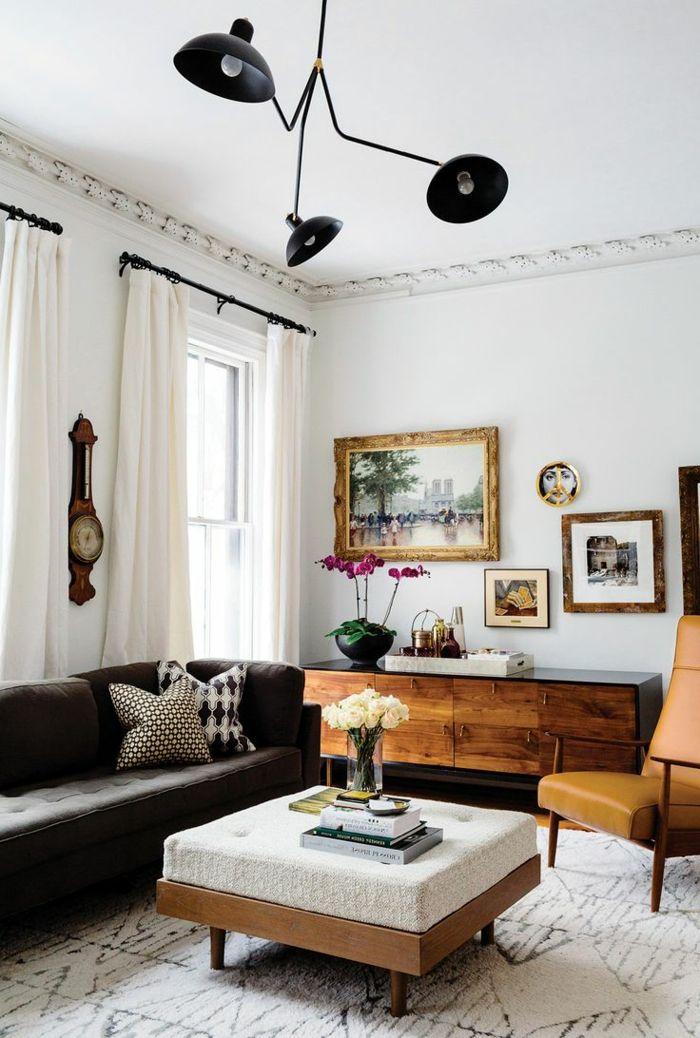 1001 ideas sobre decoraci n de salones para espacios peque os cortinas blancas sof s negros - Cortinas para salones pequenos ...
