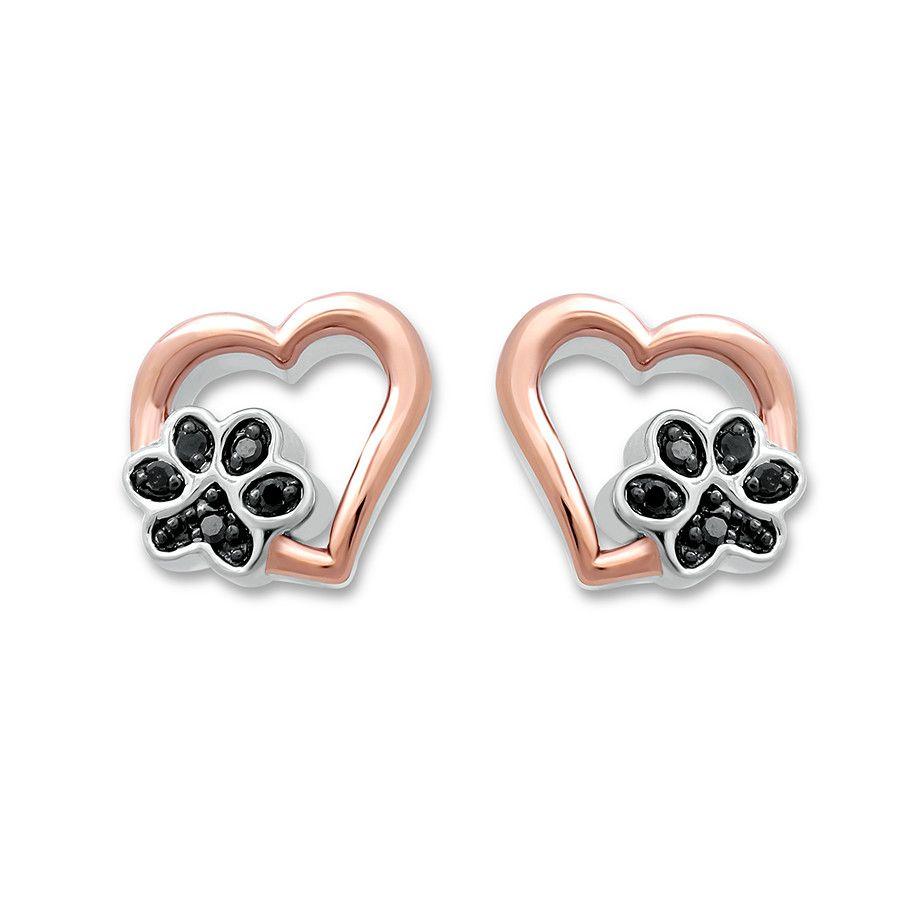 Artistry Diamonds Pet Love Paw Print Ring Black Diamond Sterling Silver/10K Gold SjwleZm