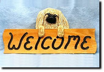 Pekingese - Dog Breed Welcome Sign - Our unique selection of hand painted natural oak Dog Breed Welcome Signs are sure to please the most discriminating Dog Lover! Be the envy of everyone with this un...