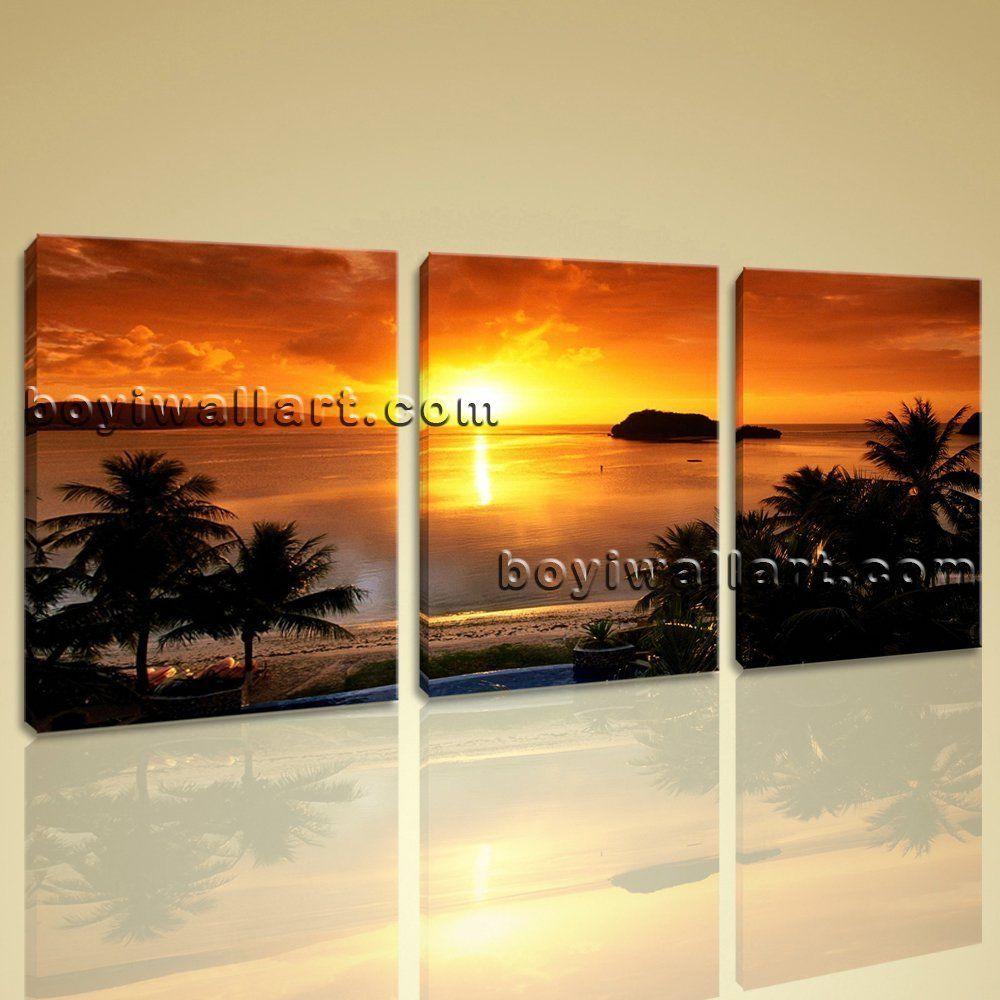 Large Tropical Sunset Landscape Contemporary Canvas Print Wall Decor ...