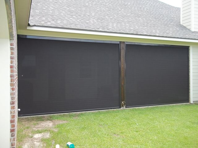 Patio center retractable screens shades i want this for for Retractable outdoor screens
