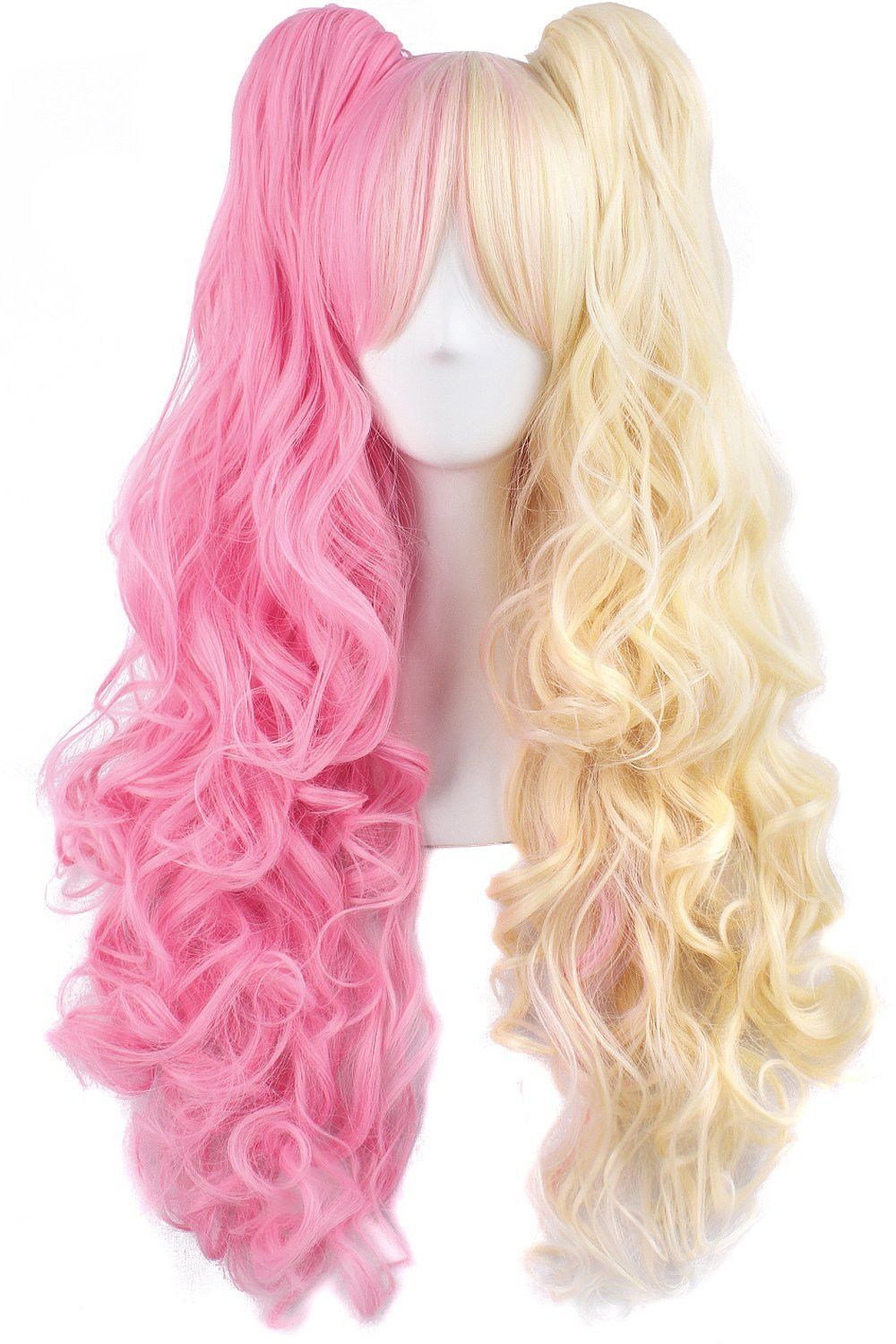 Long curly clip on ponytails anime cosplay wig Clip in
