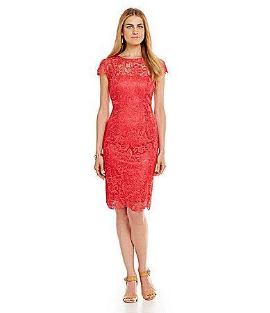 Patra Illusion Lace Shift Dress Dillards