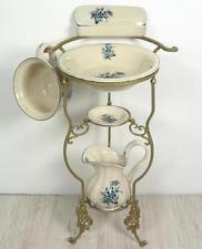 waschset mit st nder antik lavabo waschsch ssel krug seifenschale nachttopf blau viktorianisch. Black Bedroom Furniture Sets. Home Design Ideas