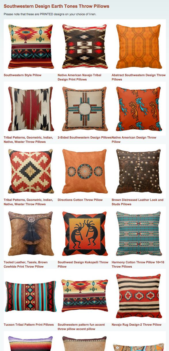 Southwestern Design Earth Tones Throw Pillows Southwestern