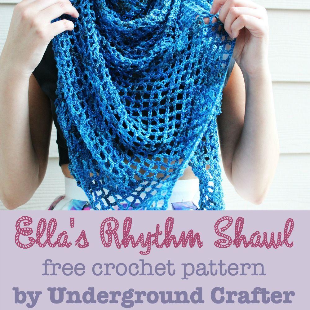 Ella\'s Rhythm Shawl, free triangular shawl #crochet pattern by Marie ...