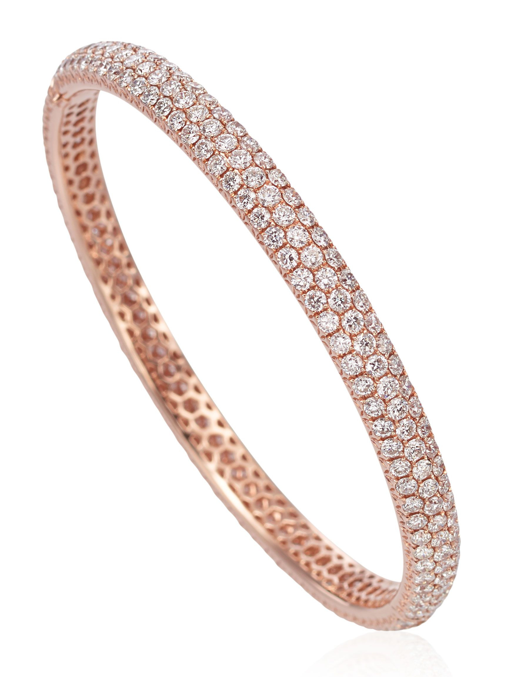 rose braided bracelet bangles bangle london pave diamond gold collection