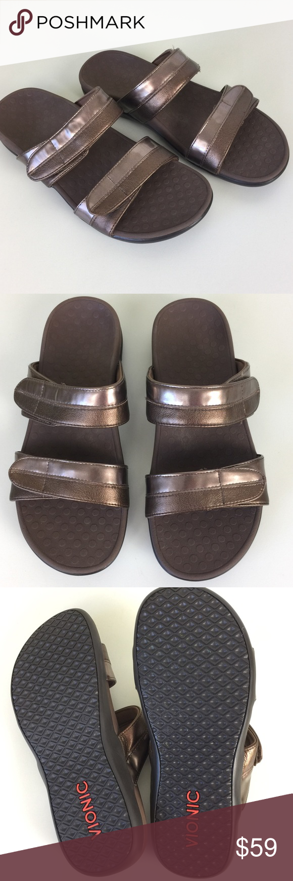 6f36ec7ae6ae Vionic NEW Orthaheel Shore Slide Sandals Bronze Size 8. New without box.  Tiny hole from the security tag. Adjustable hook and loop straps. Slip on  style.
