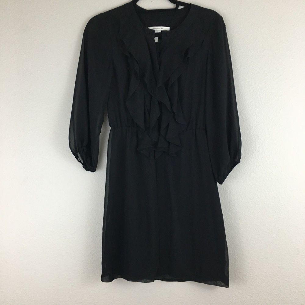 Womenus max and cleo sleeve ruffle front black dress size xxs