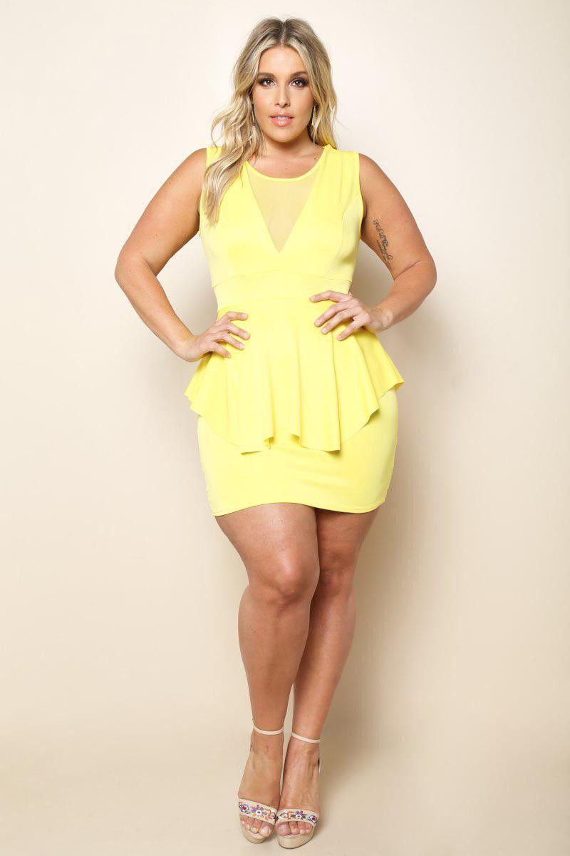Yellow sheer mesh insert peplum plus size mini dress sweet curves