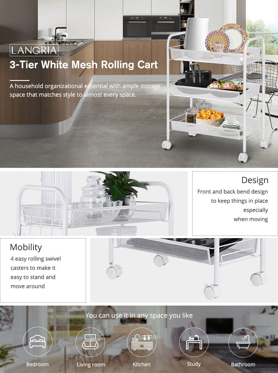Amazon.com: LANGRIA 3-Tier Mesh Wire Rolling Cart, Utility Trolley ...