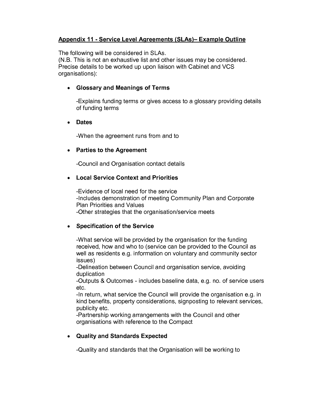Service Level Agreement Checklist  Appendix Service Level