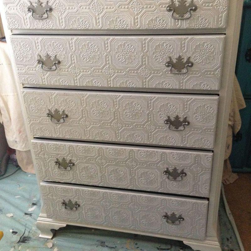 Dresser Makeover Metallic Silver Paint Textured Wallpaper