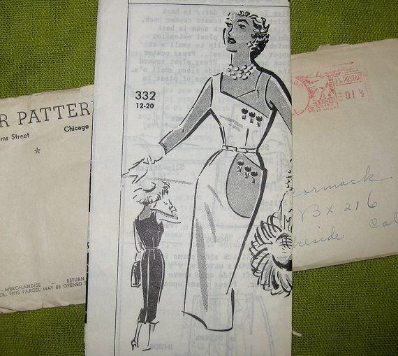 1950 Padrão de costura vintage - Wiggle Vestido com detalhe Pocket - Vestido direito - Patt-O-Rama 332 / Size14
