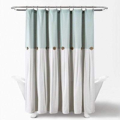 Linen Button Shower Curtain Blue Lush Decor Curtains Decor