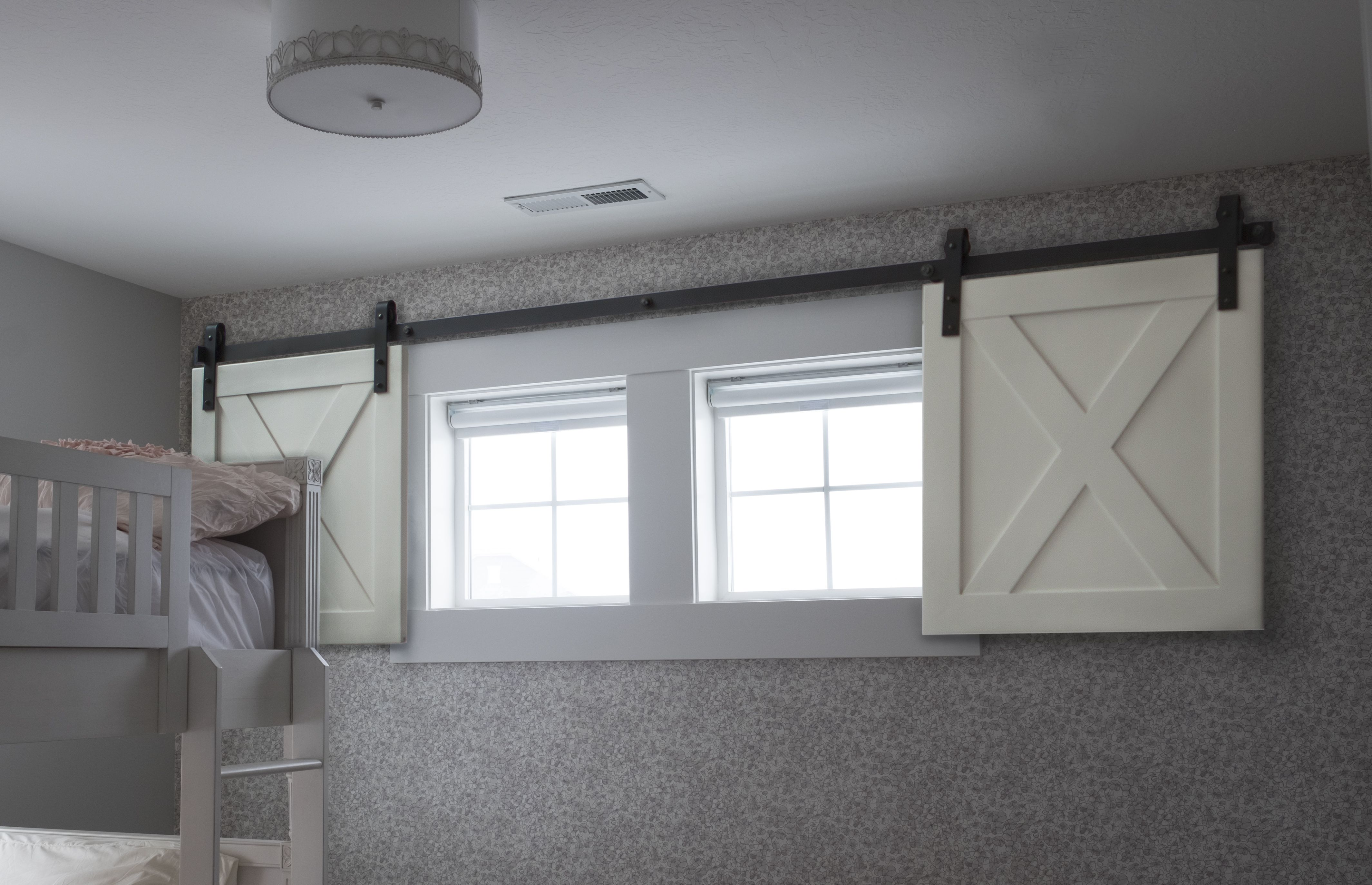 Mini Barn Door Shutters Perfect For Small Spaces Finishing Basement Basement Bedrooms Basement Renovations