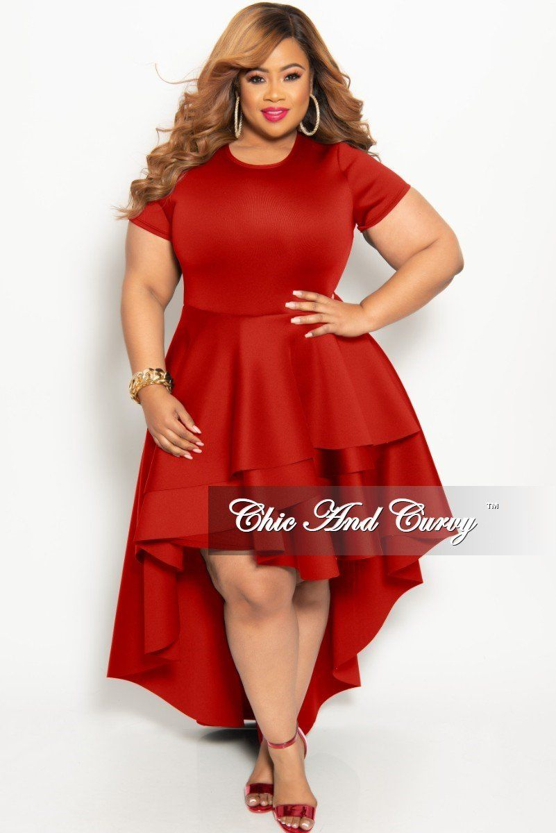 Plus Size Short Sleeve Peplum High Low Dress In Red Chic And Curvy Short Sleeve Peplum Chic And Curvy High Low Dress [ 1200 x 801 Pixel ]