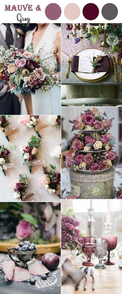 Mauvepurple And Grey Vintage Wedding Colors Ideas Easy Wedding