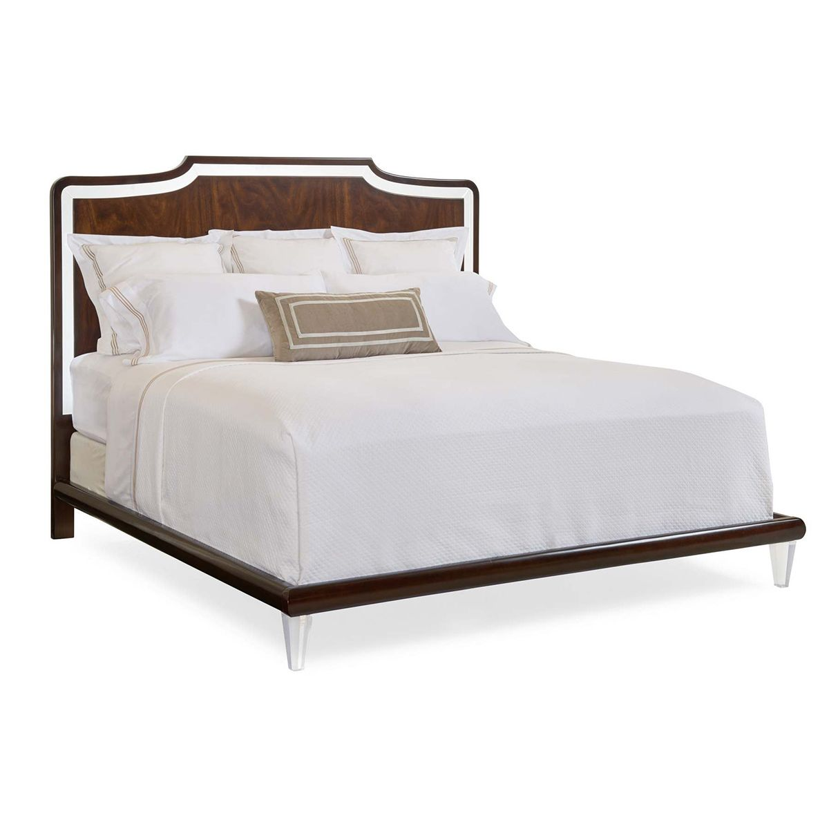 Caracole Clear Frame Of Mind King Mahogany Bed With Acrylic