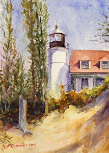 """Pointe Betsie"" by Kathleen W O'Connell Watercolor ~ 12"" x 9"""