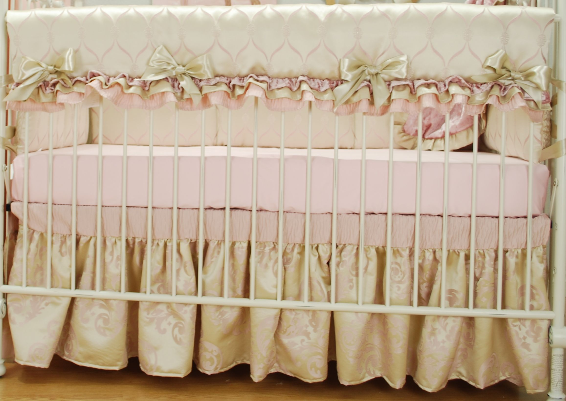 satin crib bedding set with pink ruffles pink damask pink quatrefoil and champagne