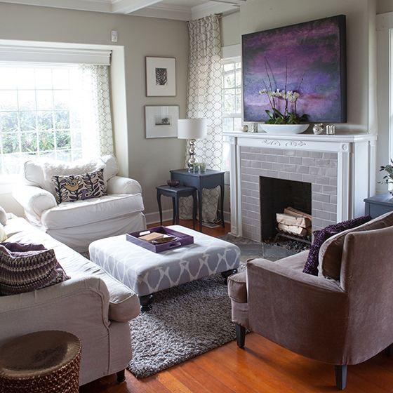 My Plum Infused Living Room Lia Griffith Plum Living Rooms Grey Walls Living Room Purple Living Room #purple #accents #for #living #room