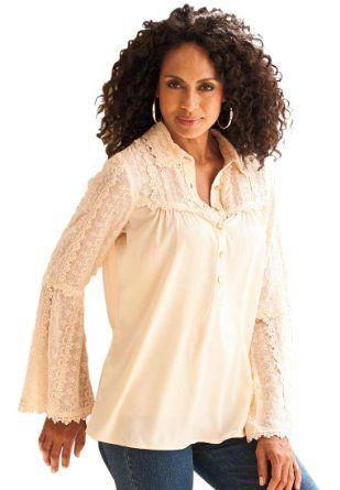 a33032a974b18 Amazon.com  Roamans Women s Plus Size Lace-Embellished Crepe Bigshirt Denim  24 7  Clothing Love it!!!