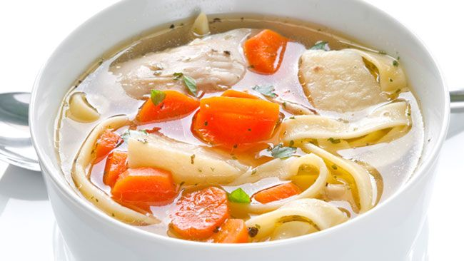 Grandmas Chicken Soup - a pot of golden broth will lots of carrots and simmered tender chicken. Love in a pot and a wonderful family bariatric friendly meal.