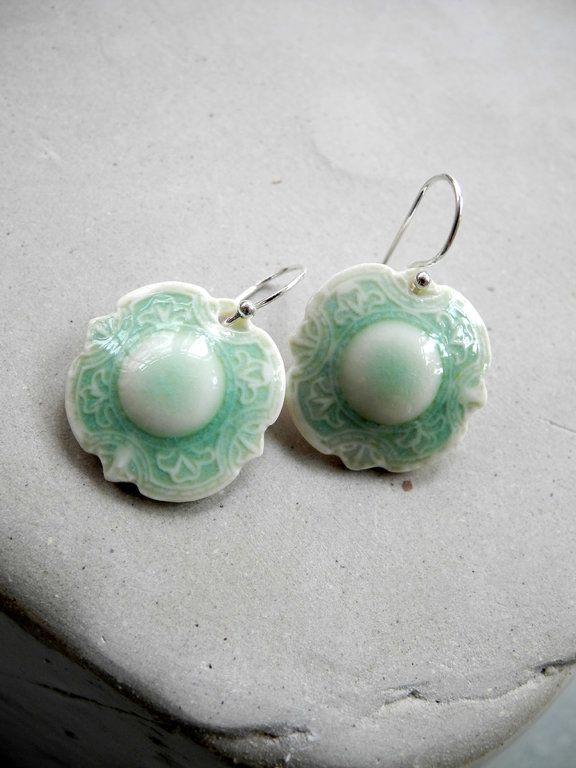 La Paris.  Celadon glazed earrings