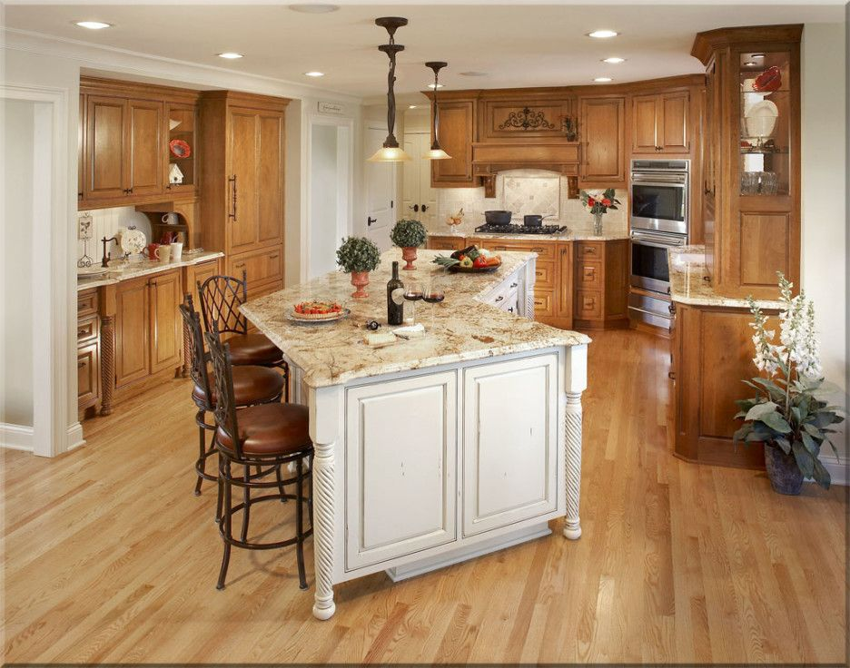 How To Plan Average Kitchen Remodel : Gorgeous Kitchen Design With Brown  Oak Wooden Kitchen Cabinet Complete With White Island Using Brown Granite  And Small ...